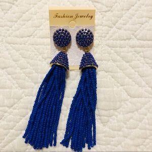 Long Cobalt Blue Tassel Earrings NWT
